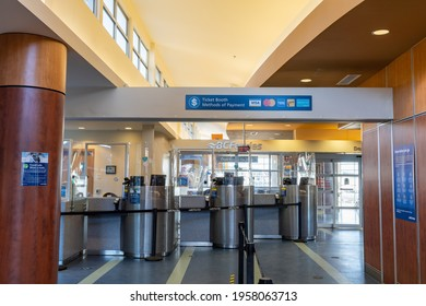 British Columbia, Canada - Apr 14 2021 : Victoria Swartz Bay Ferry Terminal ticket booth during covid-19 pandemic period.