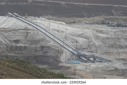 BRITISH COLUMBIA, CANADA - MAY 2006: Huge conveyers at Highland Valley Copper mine