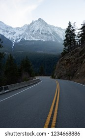 British Columbia Canada sea to sky highway road with snowy mountain in background