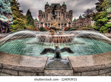 British Columbia Government parliament building with water fountain