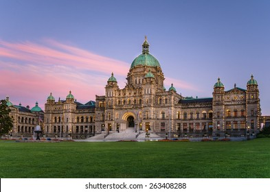 British Columbia Provincial Parliament in Victoria at Sunset