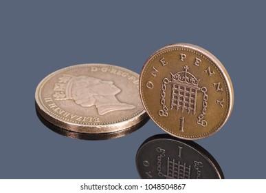 British decimal coins on dark background
