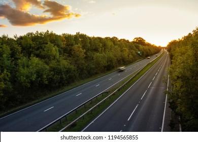 British dual cariageway road during sunset