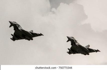A British Eurofighter jet, one of the fastest and loudest aircraft to protect the skies of the United Kingdom.