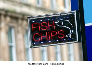 British fast food. Fish and Chips text