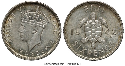 British Fiji silver coin 6 sixpence 1942, head of King George VI left, tortoise divides date,