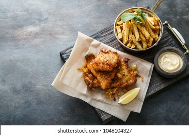 British Fish and chips with beer, top view with space