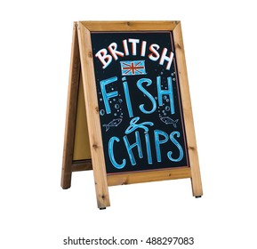 British Fish and Chips - Chalkboard advertising stand for the traditional british fast food menu. Isolated on white.