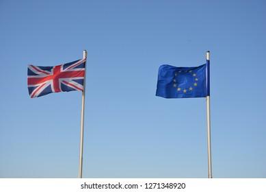 British Flag, European Union Flag, Gibraltar, Europe