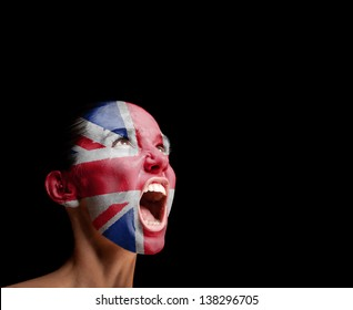 The British flag on the face of a screaming woman. concept