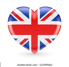 British flag on a heart symbol.Isolated on white background.3d rendered.