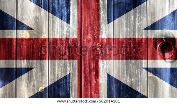 British flag painted on an old wooden door