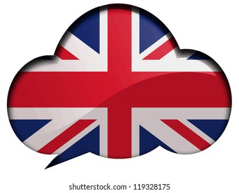 The British flag painted on speaking or thinking bubble