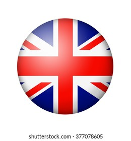 The British flag. Round matte icon. Isolated on white background.