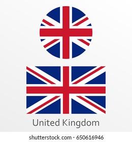 British flag set. United Kingdom and Great Britain national symbol.