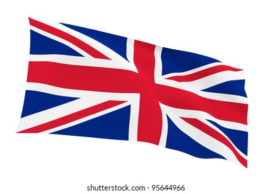 British flag (Union Jack) isolated on white background with clipping path