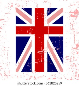 British flag vertical. Grunge old style. Blue, red and white national design, isolated on white background. Symbol of England, Britain, United Kingdom. Fashion template typography. illustration