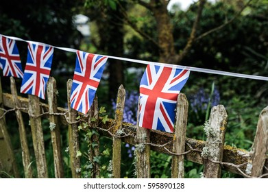 British flags are hanging on a rope. Flag of the Great Britain