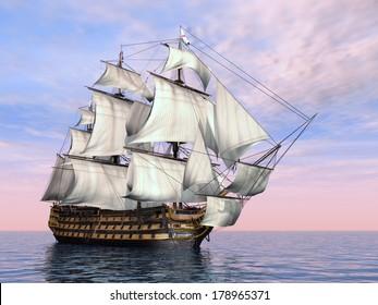 British Flagship HMS Victory Computer generated 3D illustration