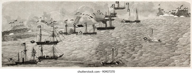 British and French fleets attacking Chinese forces in the Hai river (formerly Pei-Ho). After Chinese painting, published on L'Illustration, Journal Universel, Paris, 1858