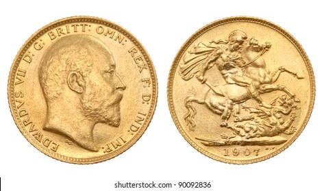 British gold sovereign of 1907 , with King Edward VII on one side and St George killing the dragon on the other side
