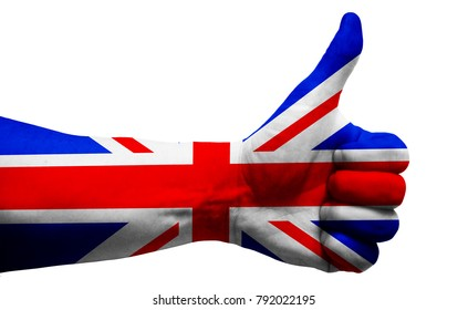 British (Great Britain, UK, United Kingdom) flag on thumb up gesture like icon on white background, isolated GOOD sign