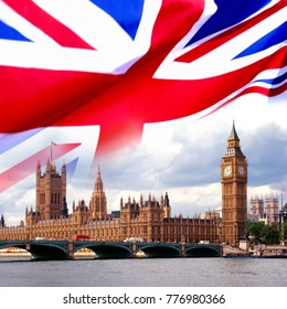 British House of Parliament, Big Ben and the flag of Great Britain.
