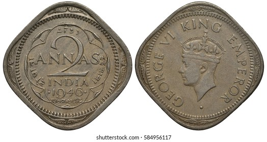 British India coin 2 anna 1946, face value in center in five languages, King George VI head right,