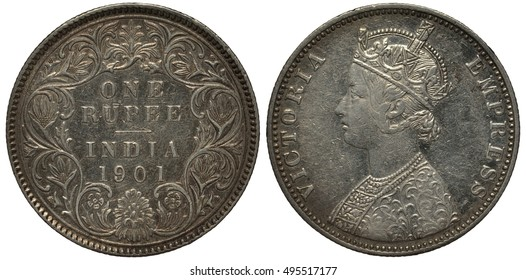 British India coin one rupee 1901, denomination within circular floral ornament, Queen Victoria bust left, colonial time, last year of reign, silver,