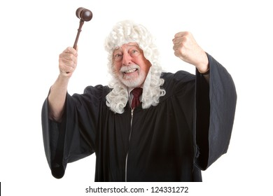 British judge in white wig, waving his gavel around in frustration and anger.  Isolated on white.