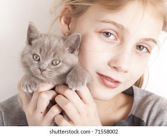 British kitten rare color (lilac) and girl