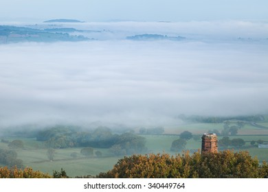 British Landscape Flooded in Morning Fog, Stiperstones Shropshire