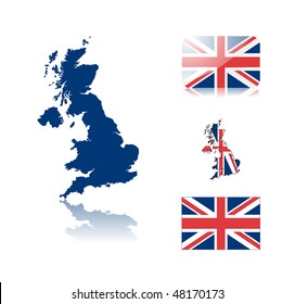 British map including: map with reflection, map in flag colors, glossy and normal flag of United kingdom.