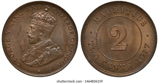 British Mauritius coin 2 two cents 1917, bust of King George V left, digit of denomination within beaded circle, date below,