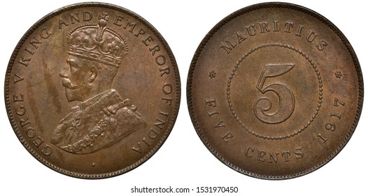 British Mauritius coin 5 five cents 1917, bust of King George V left, digit of denomination within beaded circle, date below,