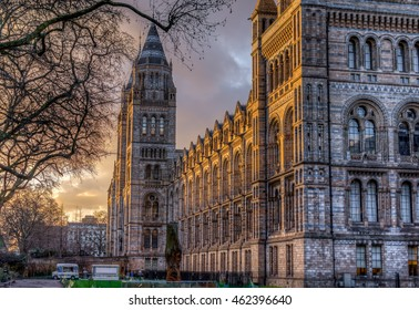 British Natural History Museum London at sunset