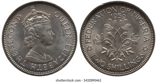 British Nigeria Nigerian coin 2 two shillings 1959, bust of Queen Elizabeth II right, peanut plant flanked by six-pointed stars, date above,