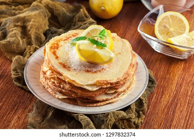 British pancakes with lemon and sugar. Traditional for Shrove Tuesday