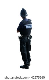 A British police officer with his backs to the camera, isolated on a pure white background.