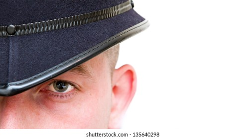 british policeman wearing helmet with copy space