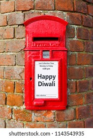 British post box with a message that reads Happy Diwali, ideal for a greeting card design