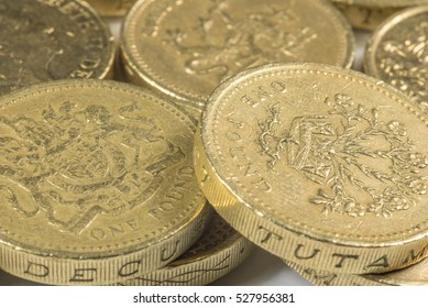 British pound coins  up close macro studio shot