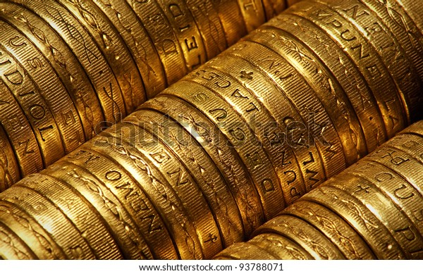 British Pound Coins side view suitable for backgrounds