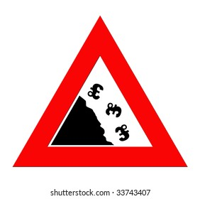 British pound currency signs falling off cliff in warning road sign triangle, isolated on white background.