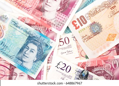 British Pound money bills of United Kingdom in Different value,Pound currency and finance.