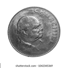 British Pound Sterling Silver Coin Reverse with Winston Churchill Isolated on white background