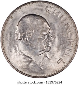 British Pound Sterling Silver Coin Reverse with Winston Churchill Isolated
