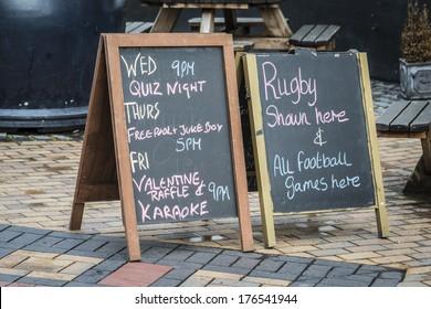 British Pub blackboard signs