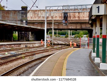 British Rail workers fixing the tracks on network rail train lines in Preston , Lancashire England UK. sEPTEMBER 2018
