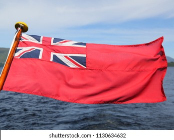 The British Red Ensign flag. It is the flag flown by British merchant or passenger ships since 1707